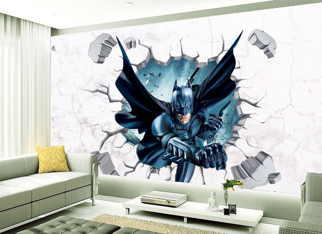 3D wallpaper cartoon broken wall stickers Batman wall mural sticker bedroom window glass background art decals