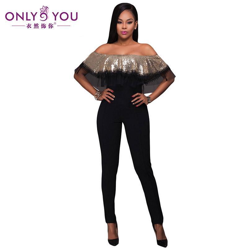 Wholesale- ONLY YOU Fashion Sequin Ruffle Party Womens Jumpsuit 2017 Summer  Gold Slash Neck Top Jumpsuit Sexy Bodysuit Combinaison Femme Combinaison  Femme ... 3f1e1dae9371