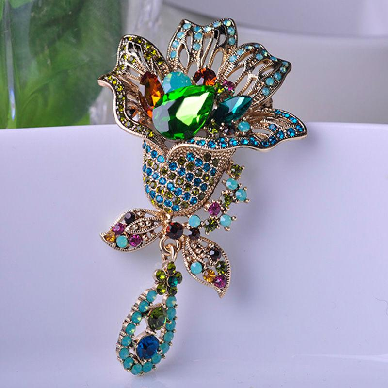 c4e37d091f4 2019 Vintage Rhinestone Flower Brooches For Women Evening Dress Broche Clip  Decoration Ugi Autrian Crystal Hat Pin Pendant Bijouterie From Kampuck, ...
