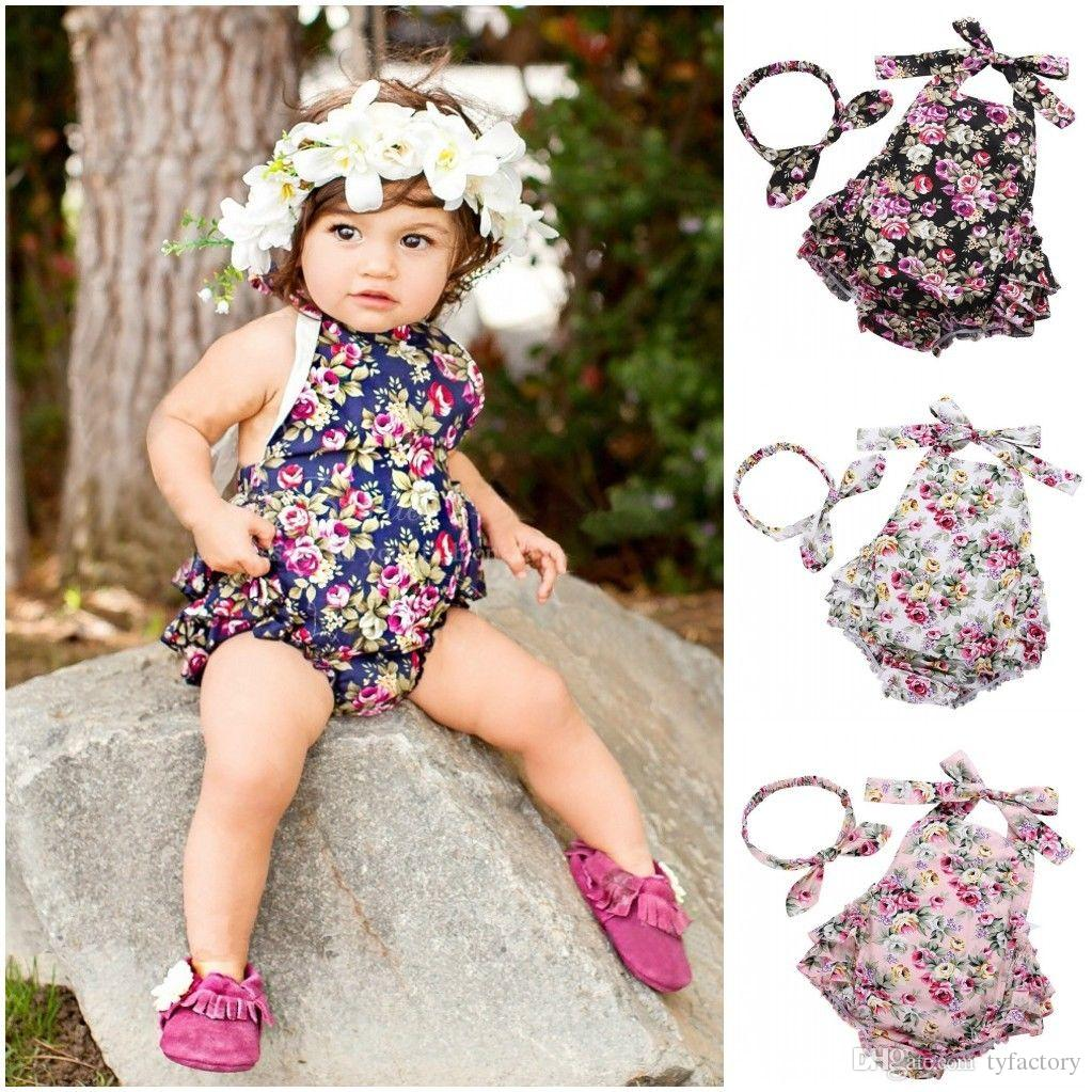 956633a806f9 2019 INS Summer Baby Infant Romper Flowers Romper Set Girl Baby Floral  Printed Jumpsuit Newborn Baby Clothes Children Rompers 0 24M From  Tyfactory