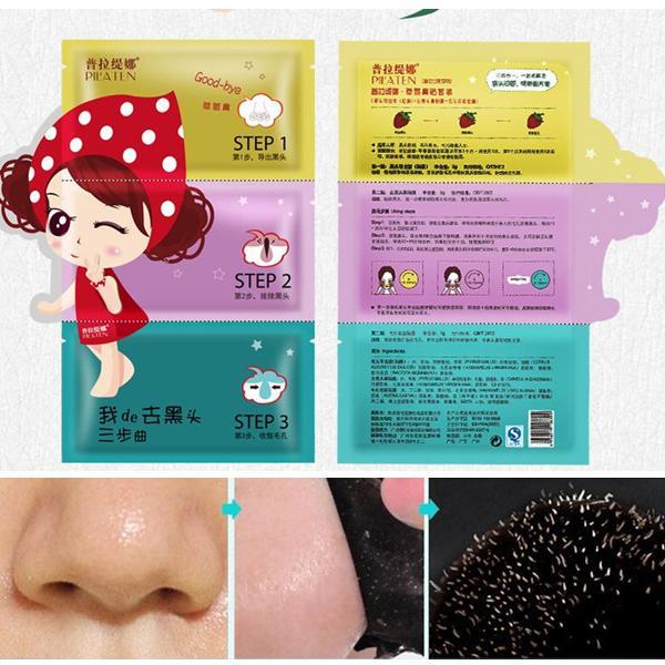 3 pasos Pilaten Removedor de espinillas Máscara de nariz Máscara de cabeza negra Limpieza profunda Cosméticos Faciales Tratamiento de acné Máscara Limpiador de poros