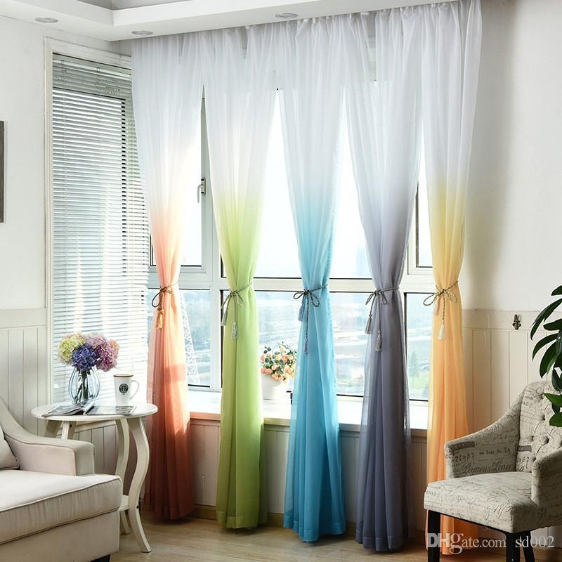Grosshandel Moderne Voile Vorhang Farbverlauf Fenster Tull Gardinen