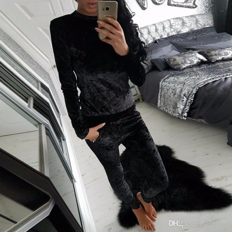 Outono Inverno Moda Feminina Brilhante de Veludo Quente 2 Peças Agasalho Definir Magro Calças e Manga Longa O-pescoço Camisola Com Capuz