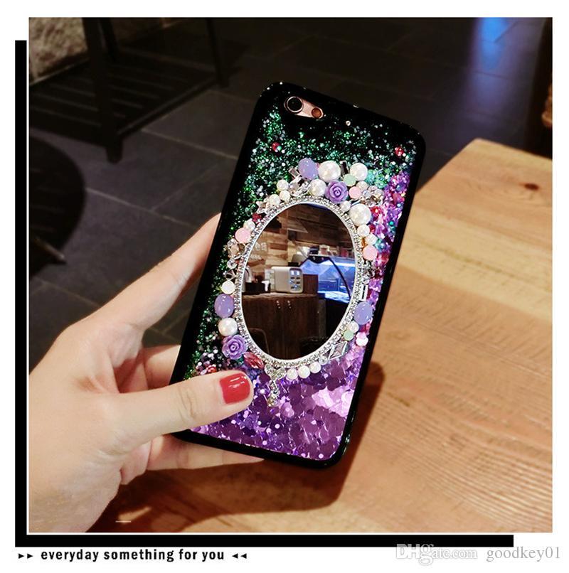 آيفون 7 6 6 ثانية 8 زائد بريق حماه غطاء الهاتف عودة الحالات الديناميكي السائل مرآة حجر الراين بلينغ الزهور fundas