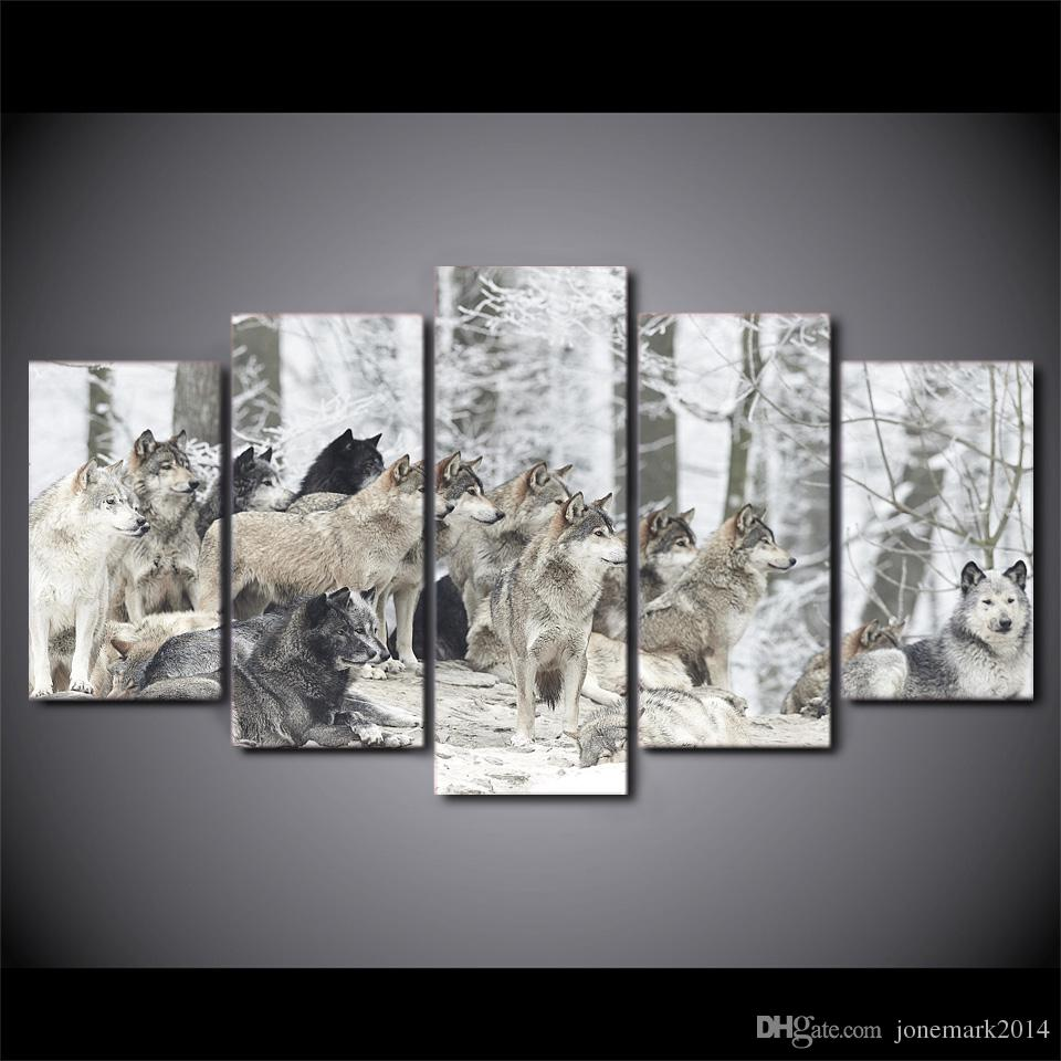 Wolves Group Animal Snow Wall Art Canvas Pictures For Living Room Bedroom Home Decor Printed Framed Canvas Painting