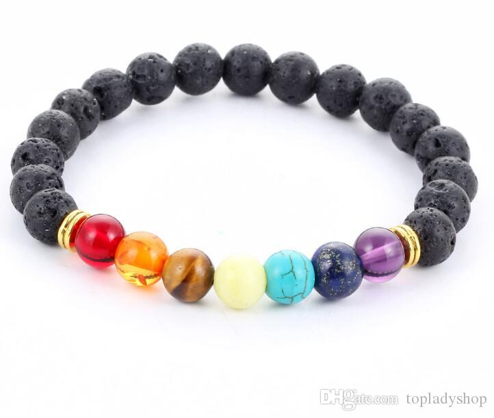 Natural stone agate molten rock 8mm volcano stone colorful beads bracelets energy Bracelet wholesale Free Shipping