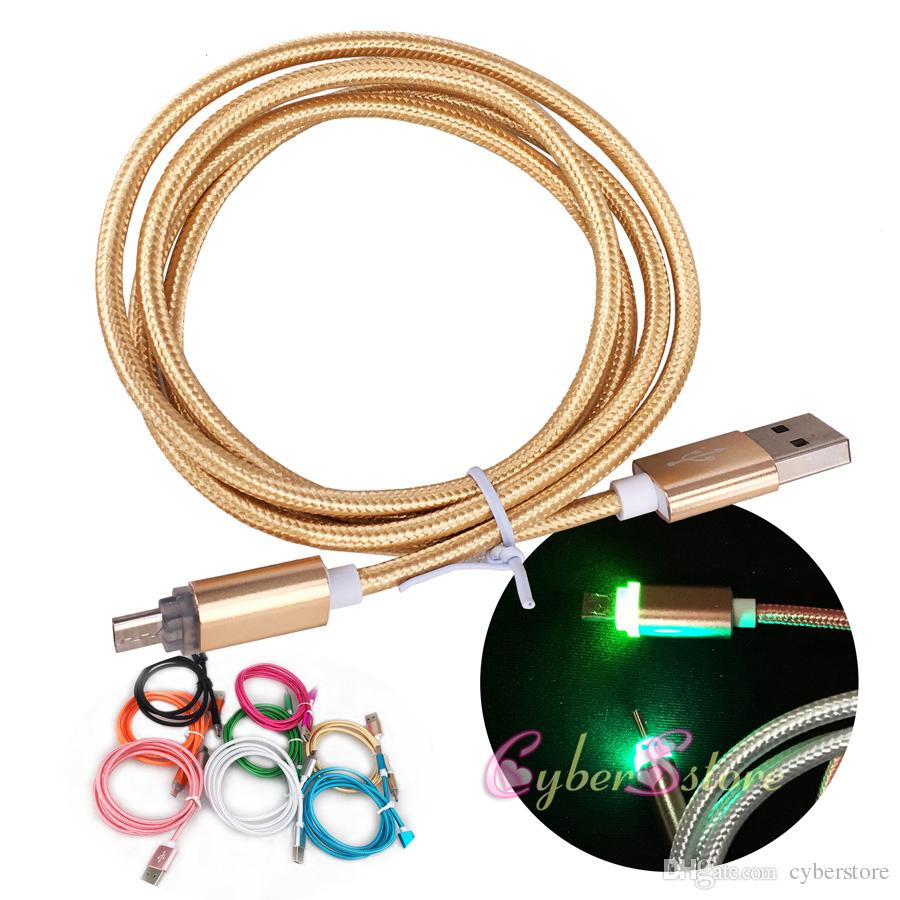 1M LED câble de données de tresse USB en métal câble de charge micro V8 pour Android Phone Samsung Fast Charger