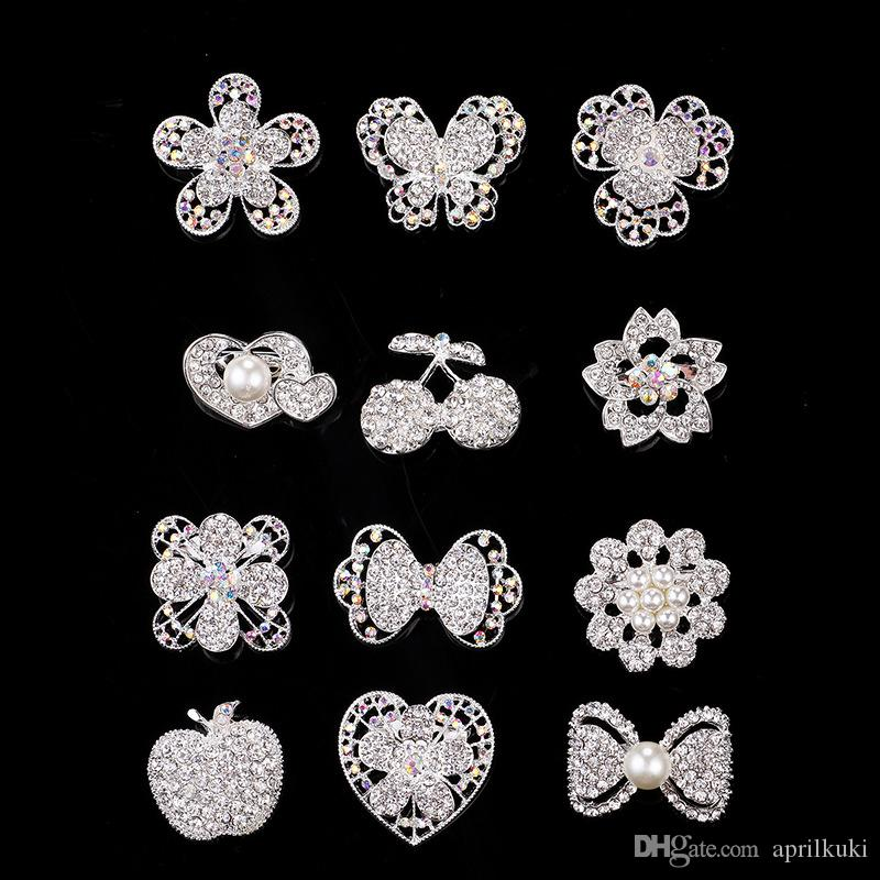 2017 Wedding Brooches 10 Style Silver Pearl Crystal Rhinestone Flower Bouquet Butterfly Vintage Brooch Pins Best Gift Christmas Brooches