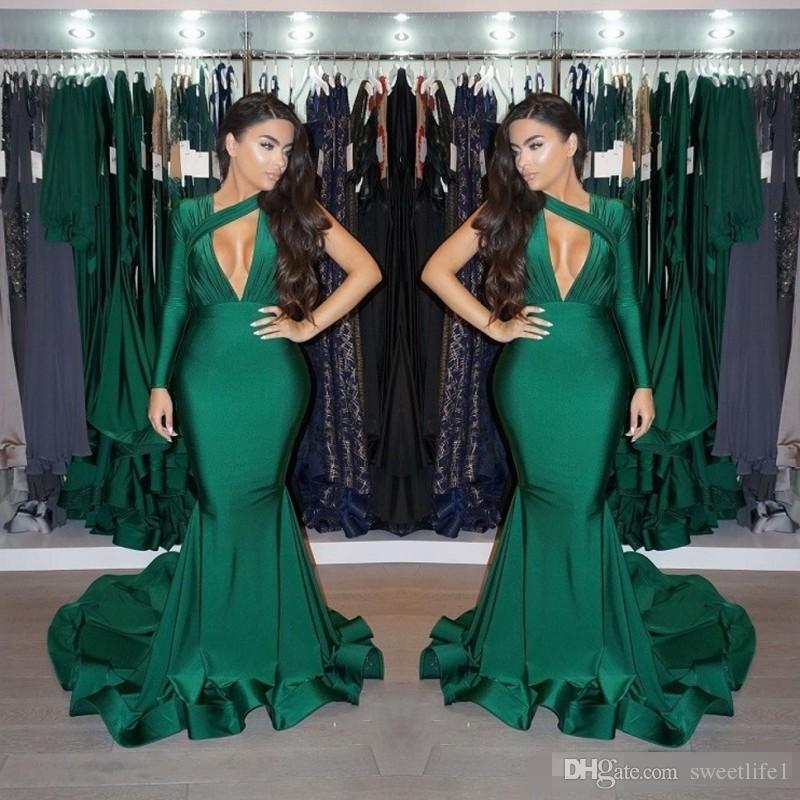 Glamorous One Shoulder Long Sleeves Prom Dresses 2019 Dark Green Ruffles Long Evening Gowns Mermaid Party Wears Formal