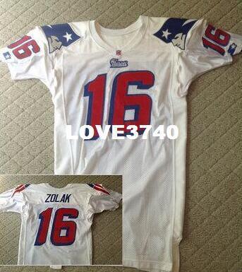 7c4bd71a2ff Men Scott Zolak  16 Team Issued White Football Jersey Size S-XXXL Or ...