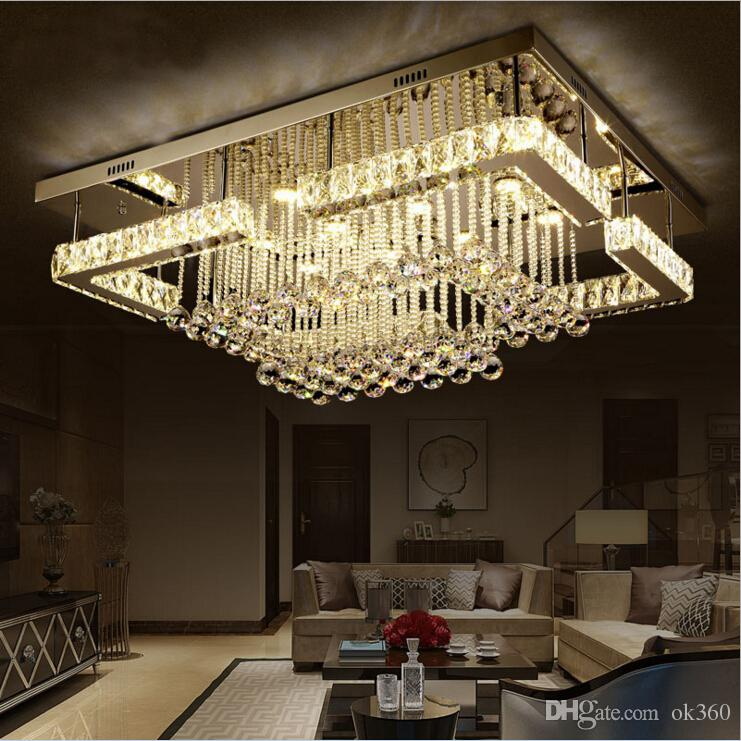 New Modern Luxury Pandant Light Rectangular Led K9 Crysal Chandelier Ceiling Mounted Crystal Fixutres Foyer Chandeliers For Living Room Floor