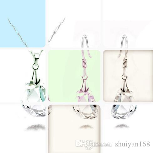 DHL Faceted Crystal Clear White Bridal Jewelry Ear Studs Sets New Hot Sale Necklace Earrings Set