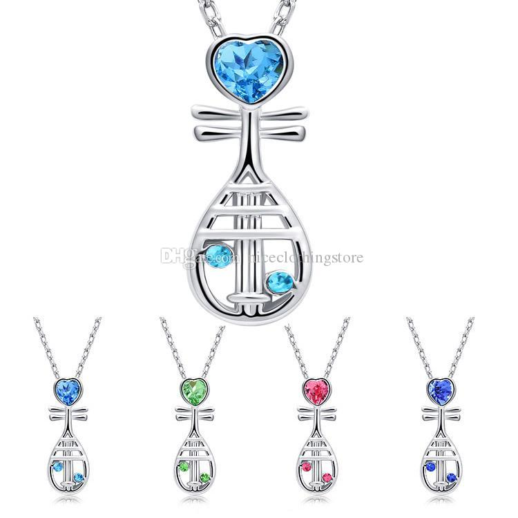 Chinese Musical Instrument Crystal Heart Pipa Necklace Silver Chain Crystal Diamond Pendant Fashion Jewelry Gift for Women Kids
