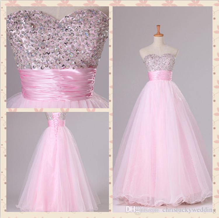 Compre Rosa Beading Vestido De Noche Prom Dresses Largo Vestido De ...