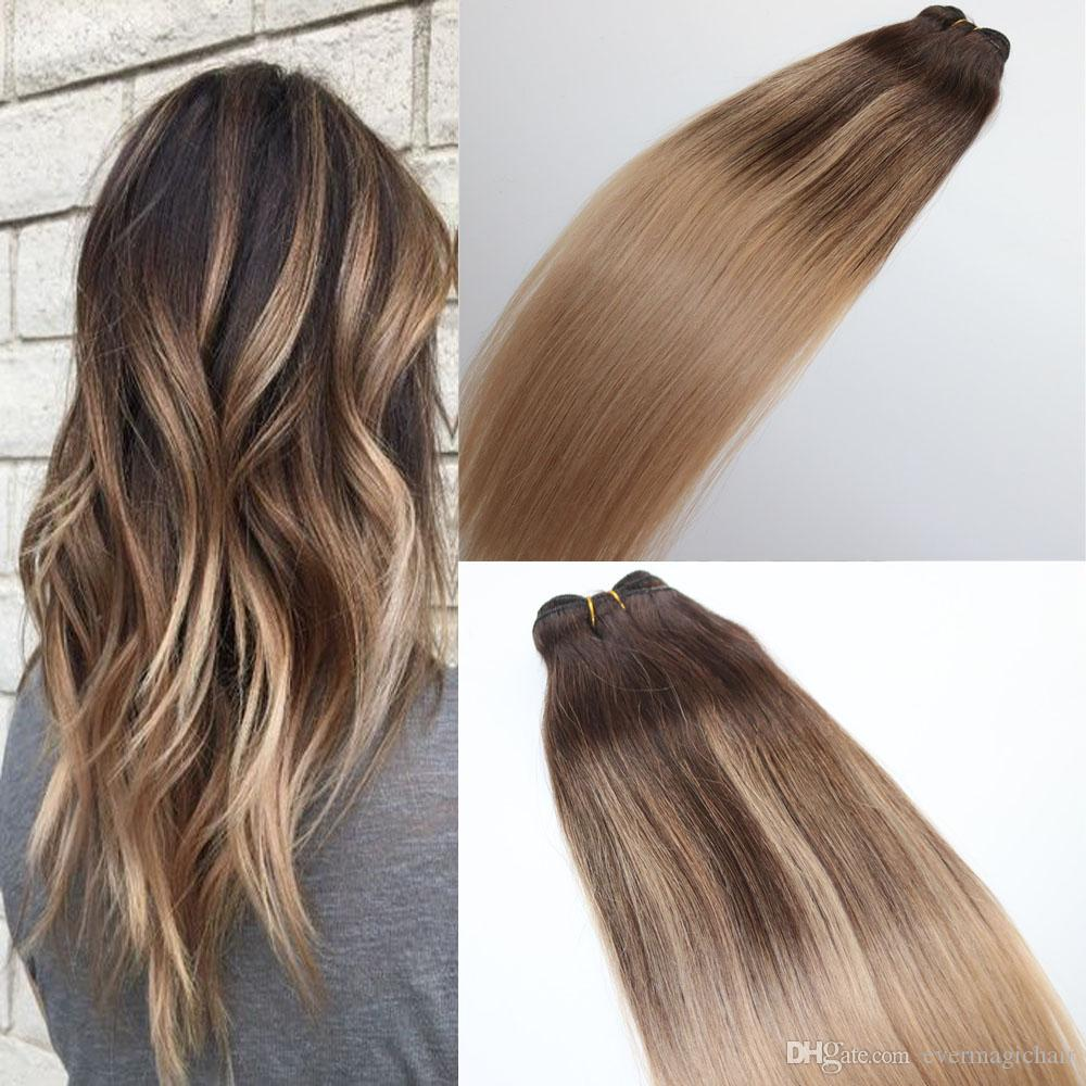 Human Hair Extensions Blayage Highlights Dye Color 4 18 Hair Weave