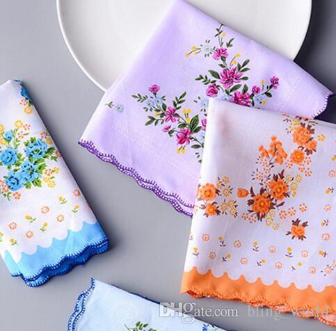 100% Pamuk Mendil Havlu Kesici Bayanlar Çiçek Mendil Parti Dekorasyon Bez Peçeteler Zanaat Vintage Hanky Umman Düğün Hediyeleri SF35