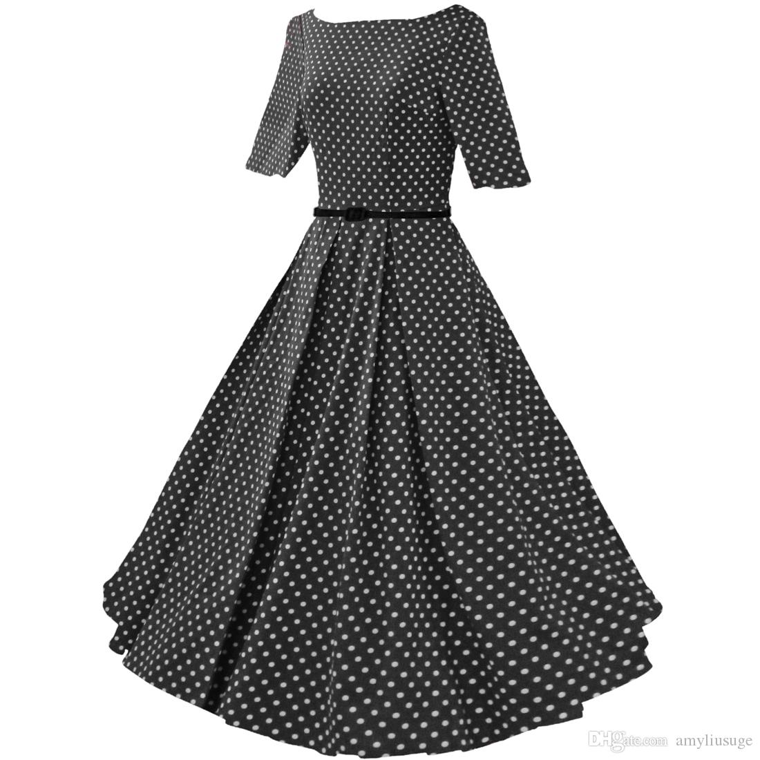 328b948ec8df Womens 1950s Rockabilly Vintage Audrey Hepburn Polka Dot Swing Skaters  Wedding Guests Party Dresses FYV075 Yellow Maxi Dress With Sleeves White  Women ...
