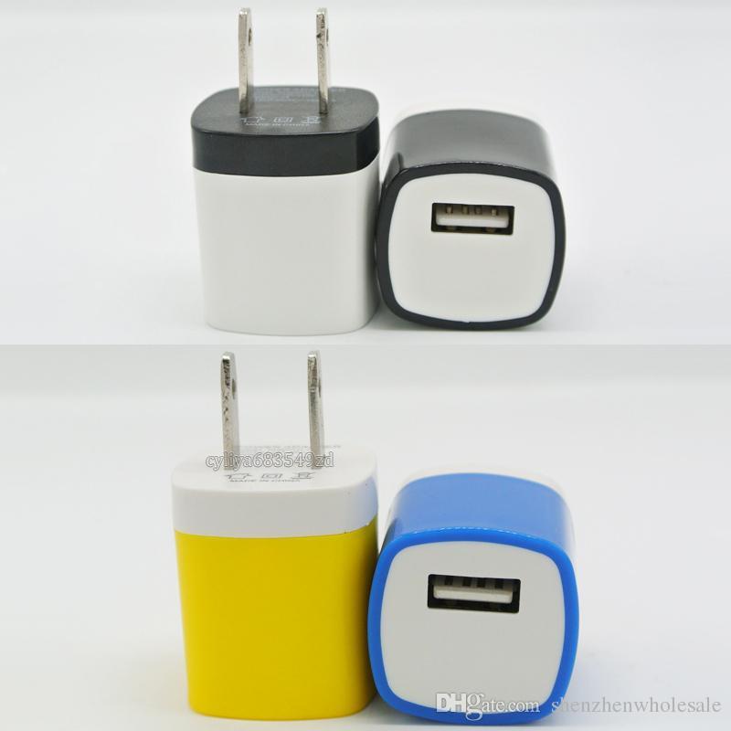 Cargador de pared Adaptador de viaje para el teléfono inteligente 5V / 1A Colorido Enchufe casero Cargador USB para Samsung S6 S6 EDGE Nota 5 EE. UU. Versión de la UE Versión de DHL