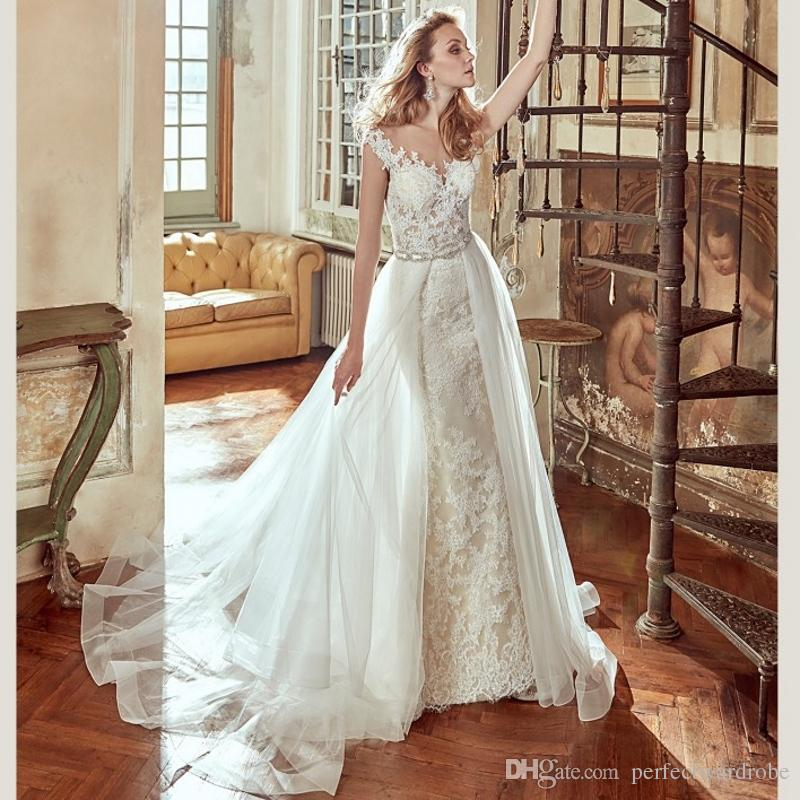 Detachable Trains For Wedding Gowns: Lace Mermaid Detachable Train Wedding Dresses Removable