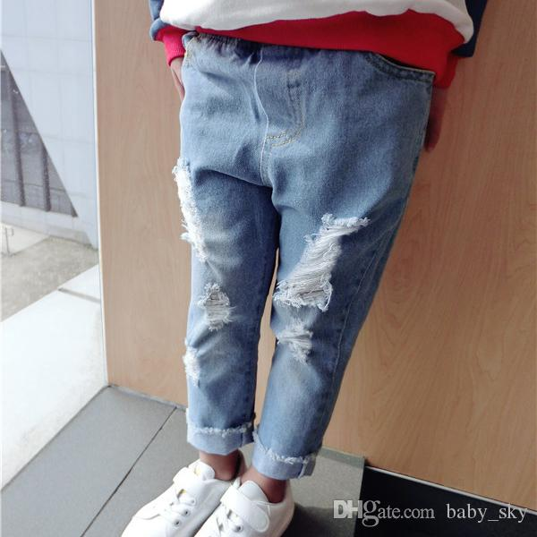 Boys Skinny Ripped Jeans Girls Casual Pants Fashion Children ...