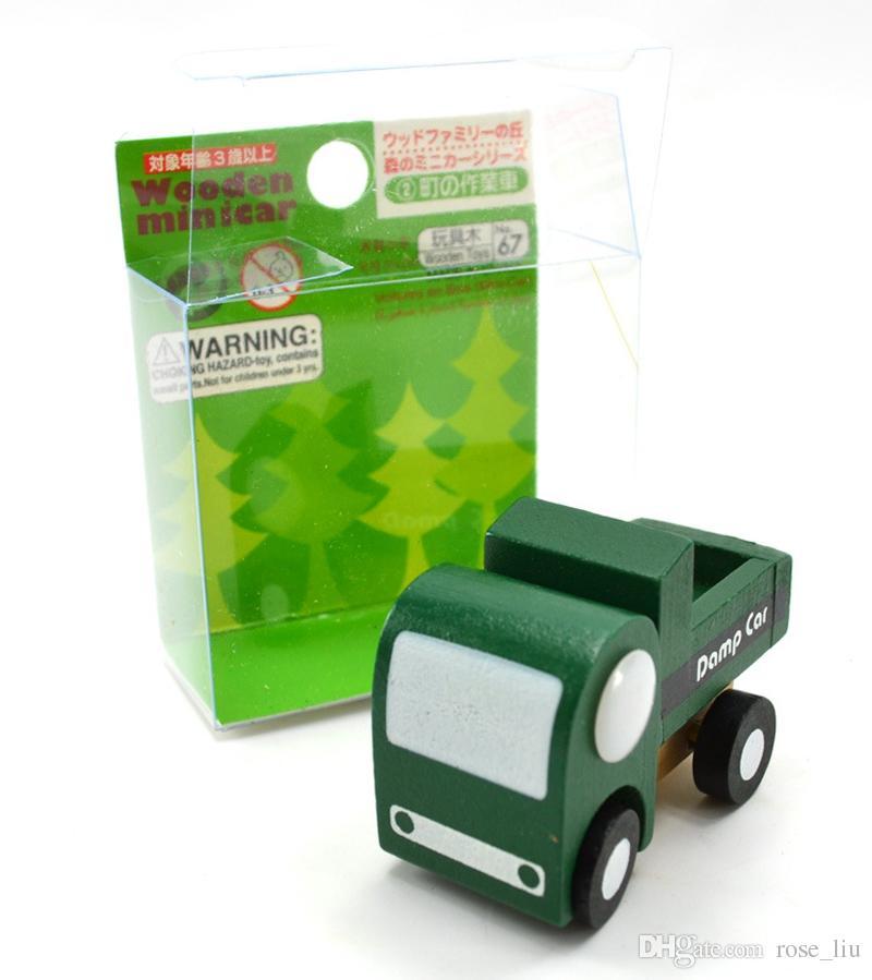 12 pçs / lote Mini carro de madeira / avião Educacional Macio Montessori brinquedos de madeira para crianças com caixa de presente presente de aniversário para meninos XT
