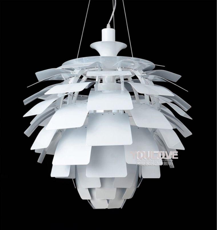 Modern Pine Cone Pendant Lamps White Silver Artichoke Lamps Home Indoor Lighting Dining Room Aluminium Pendant Lights Fixture D60cm/48cm