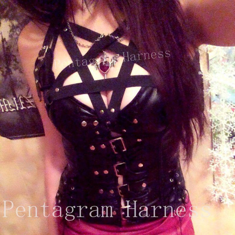 6056a8ec92 2019 Rivet Pentagram Harness Cage Bra Black Strappy Tops Bondage Body  Harness Halter Erotic Bdsm Bra Women Harajuku Goth Harness Bra From  Jiangfengzongya