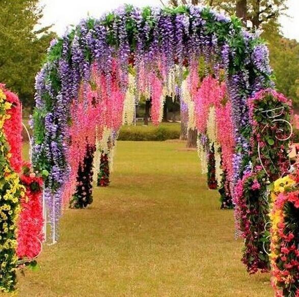2017New Artificial ivy flowers Silk Flower Wisteria Vine flower Rattan for Wedding Centerpieces Decorations Bouquet Garland Home Ornament
