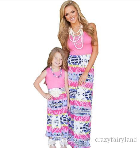 7e133b6830dc5 Plus Size Family Matching Outfit Clothing Mother Daughter Lace Maxi Long  Dress Mom Girl Kids Patchwork Lace Parent-child Dress Vestidos