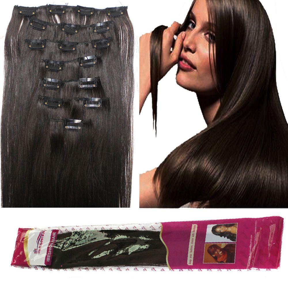 180g Soft Full Head Clip In Human Hair Extensions 1b 2 4 6 20