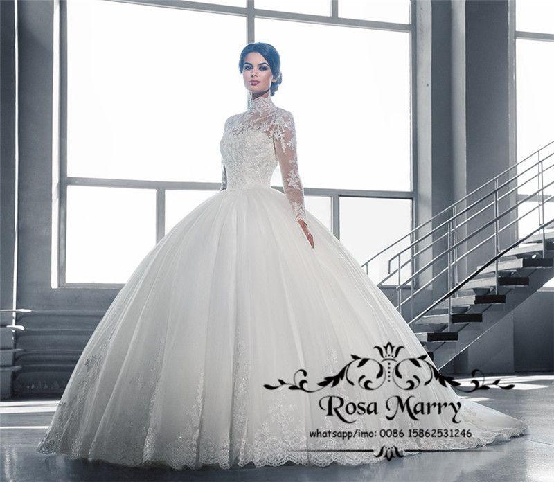 Prenses İslam Balo Dantel Gelinlik 2020 Yüksek Boyun Uzun Kollu Victoria Artı Boyutu Tül Müslüman Türk Arapça Vestido De Novia