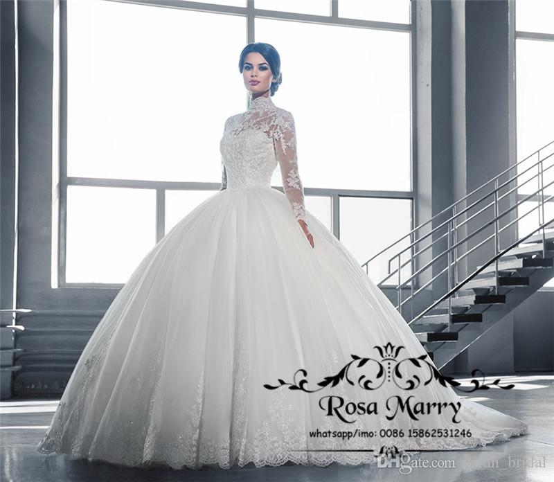 Princess Islamic Ball Gown Lace Wedding Dresses 2018 High Neck ...