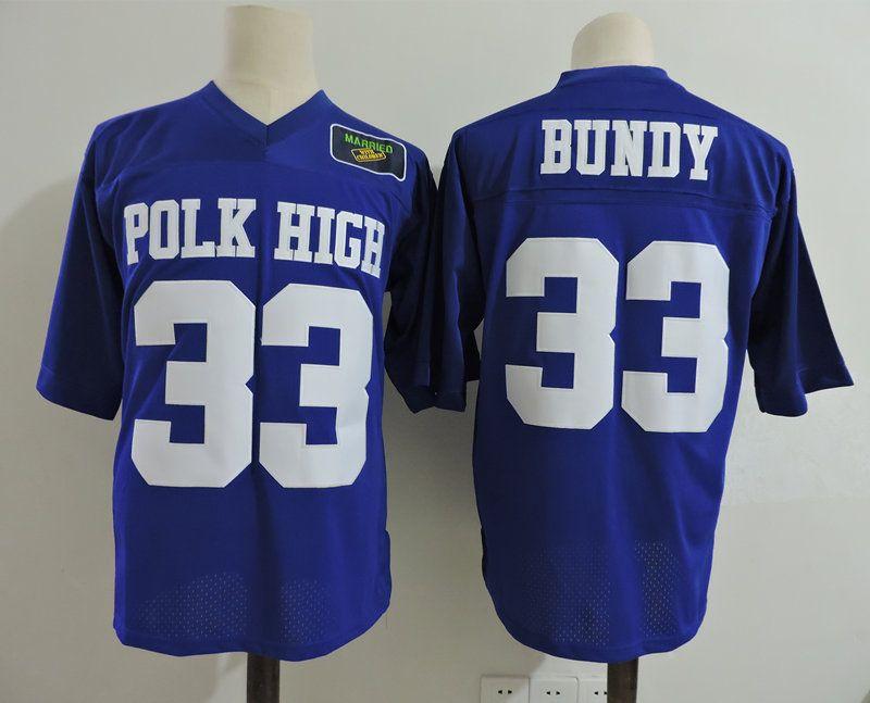 Men s Married... with Children Al Bundy Football Jersey Stitched Polk High  Blue  33 Al Bundy Jersey with Patch Size S-3XL Married... with Children  Jersey ... dec06b7aa