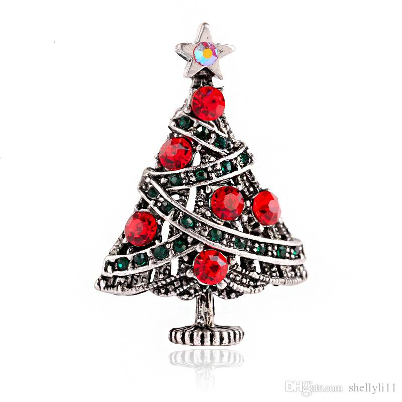 2017Fashion Jewelry Christmas Brooch Rhinestone Crystal Brooches ...