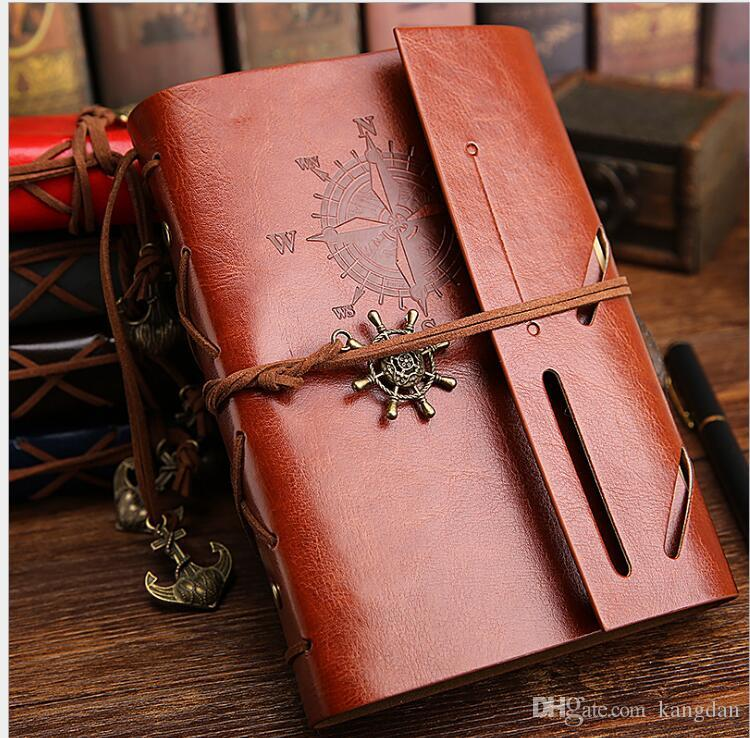 A6 sizes vintage PU leather pirate travel diary book retro spiral notebook notepad stationery office school supplies kraft paper notebooks