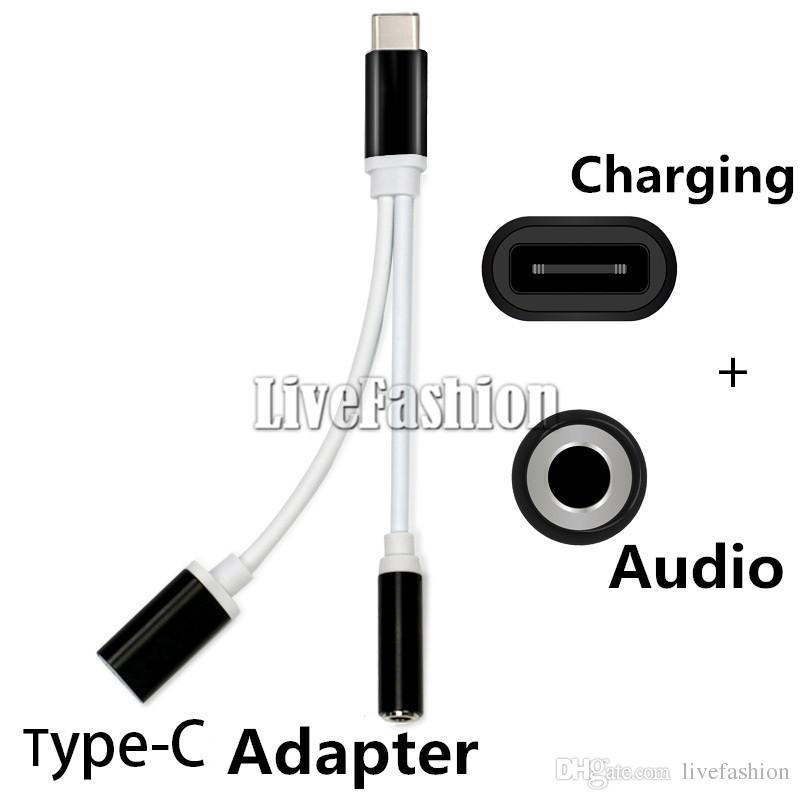 2 in 1 3.5mm Audio Cable Converter Cell Phone Earphone Jack Adapter Splitter Connector Cable Auxfor Type-C Charging Line