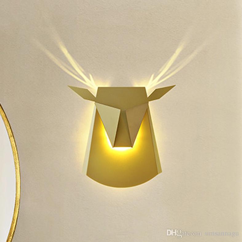 LED Deer Antler Wall Lamps 6W Animal Wall Lights Fixture Modern Home ...