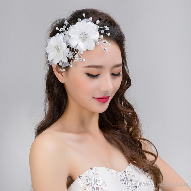 New Wedding Bridal Bridesmaid Handmade Red White Romantic Crystal Pearl Flower Hair band Wreath Headdress Hair Jewelry Accessories 2018
