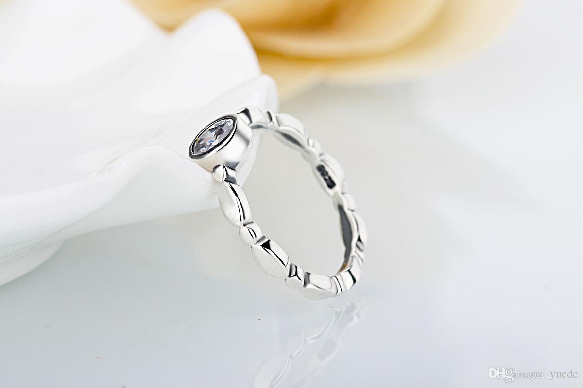 Um atacado simples boutique rings 925 Prata Assinatura Anel Fit Pandora Cubic Zirconia Aniversário Jóias para As Mulheres presente de Natal
