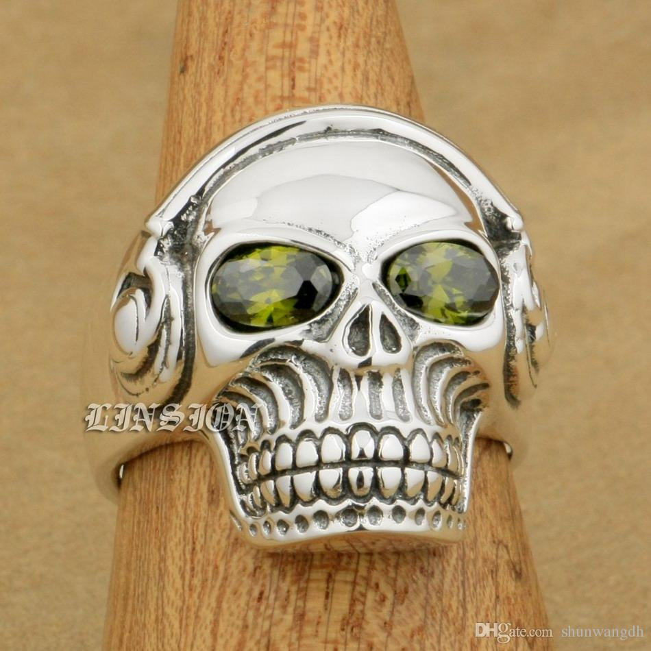 LINSION Green CZ Eyes 925 Sterling Silver DJ Skull Studio Music Headphone Mens Boys Biker Rock Punk Ring 8Y311 US Size 7 to 15