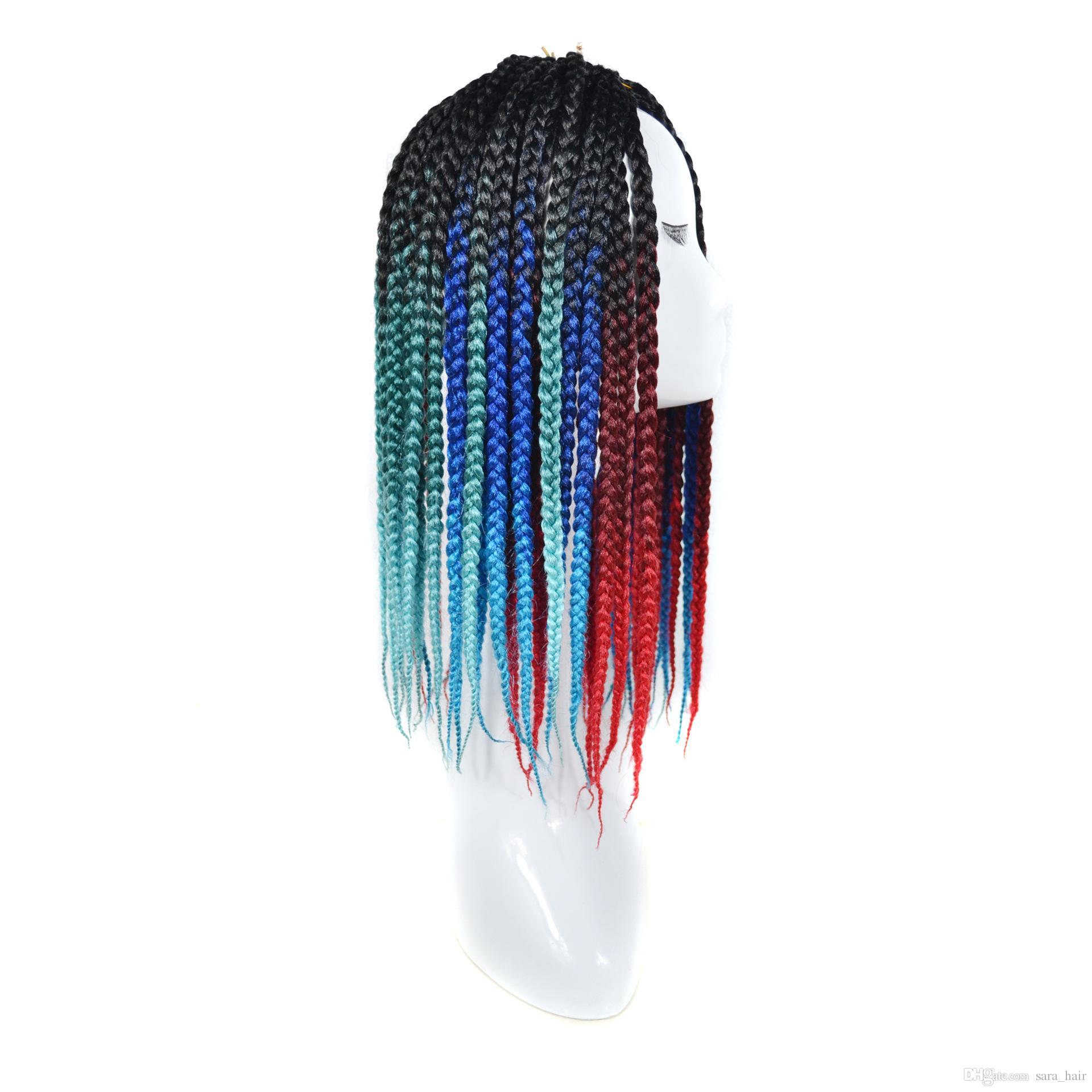 Сара американская Африканская Радуга омбре Вязание крючком плетение волос Freetress Kanekalon части волос шиньон ручной работы косы 50 см, 20
