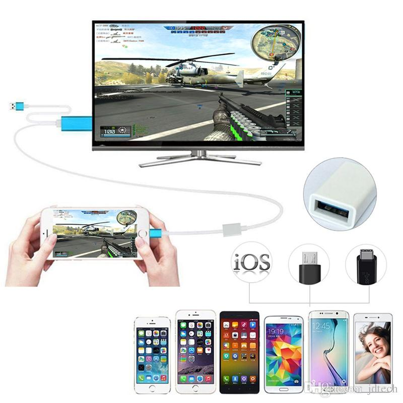 3 in 1 HDTV Cord MHL To HDMI Cable 1080P HDTV Cable Adapter iPhone HDMI / Samsung HDTV /Type C HDMI Cable With Retail Package Free DHL