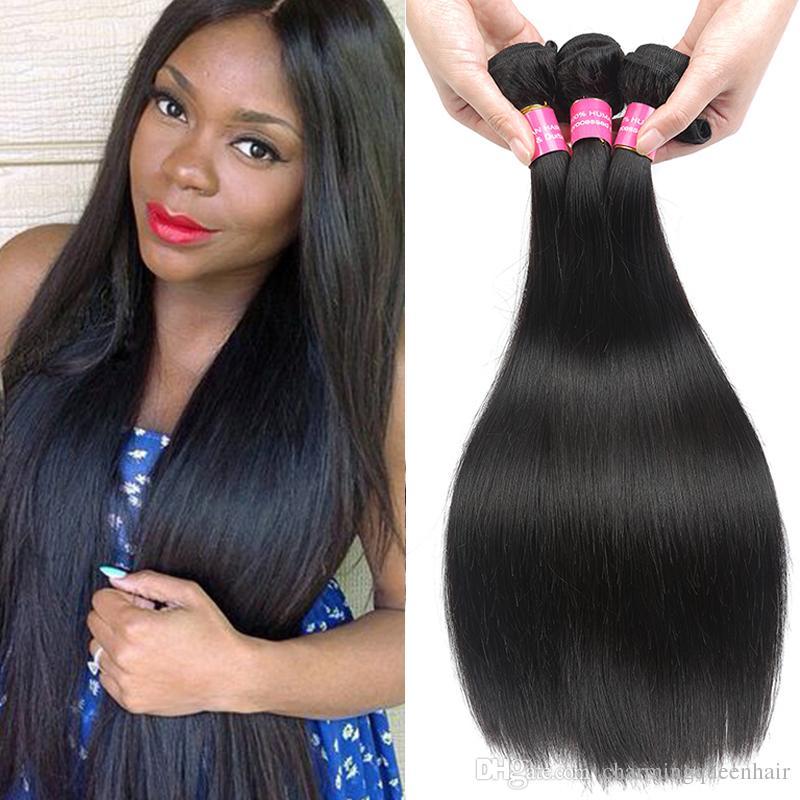Thick Straight Hair Brazilian Peruvian Malaysian Mongolian Virgin