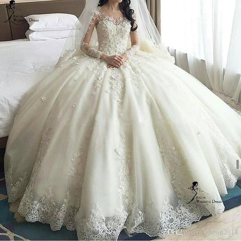 Long Sleeve Lace Ball Gown Wedding Dresses With Cathedral Train Beaded Applique Sheer Neck Tulle Puffy China Custom Made Wedding Gowns