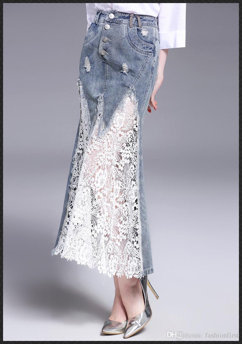 Compre Jean Faldas Mujeres De Alta Calidad De Algodón Maxi Largo Faldas De  Mezclilla Para Mujer Ropa Último Diseño 2017 Sirena De Encaje Jean Falda  Envío ... 5c2f6dbd71e3