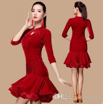 eaf99476fcd0b 2019 New Cheongsam Styles Latin Dance Dresses Adult Girls Velvet Tassels  Rumba Sasa Tango Samba Competition Costume Latin Practice Clothes From  Lanuer, ...