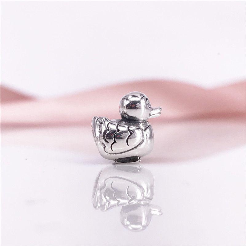 En gros 925 Sterling Silver Ducky Charm Perles Fit Serpent Chaîne Bracelet Et Collier DIY Mode Bijoux 790955