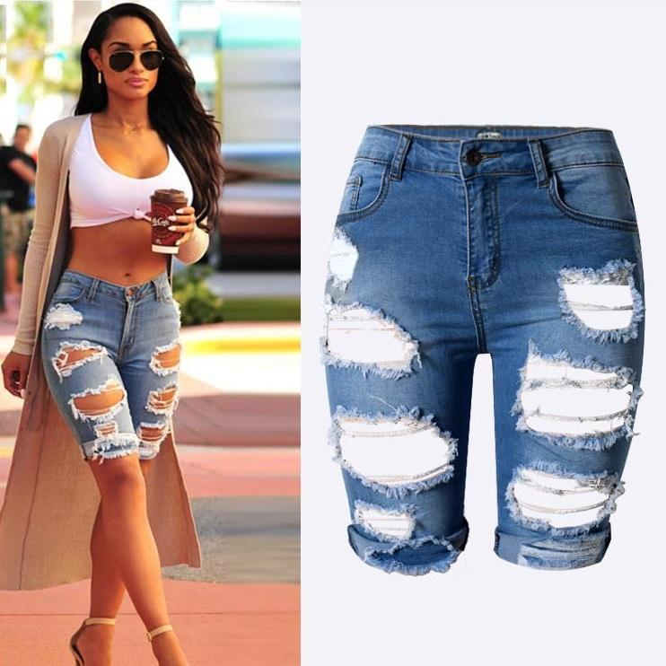 d1119c8ba Wholesale 2016 New Knee Length Denim Shorts Women Vintage Short Jeans  Ripped Distressed High Waist Shorts Femme Oversized Plus Size Pants Canada  2019 From ...