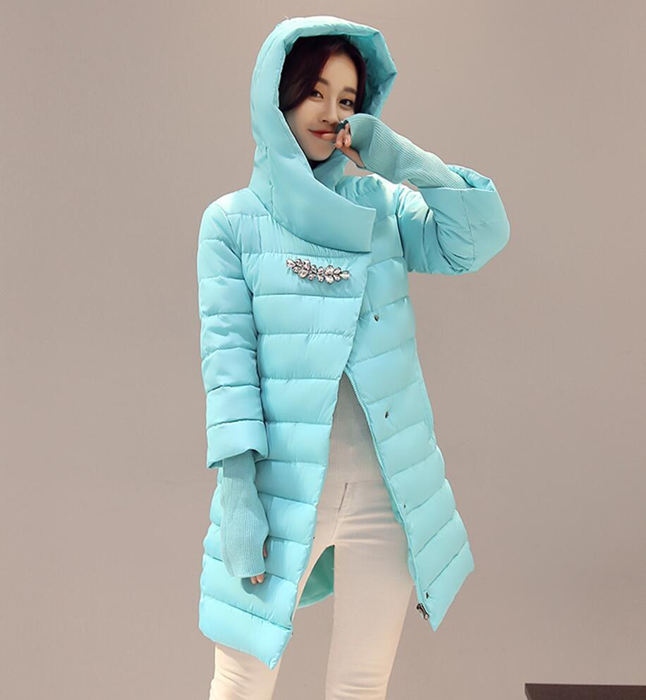 b0a33fcd4 Winter Coat Women Medium-long Wadded Jackets Hooded Slim Fashion Down  Cotton-padded Parkas Outerwear Clothing