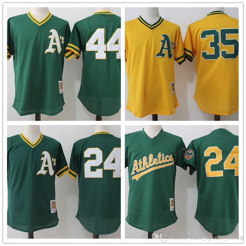 2019 Mitchell   Ness Oakland Athletics Rickey Henderson Baseball Jerseys  Reggie Jackson Green 1998 Cooperstown Mesh Batting Practice Jersey From ... 8d54414cb